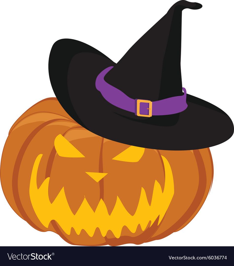 Pumpkin in hat vector image