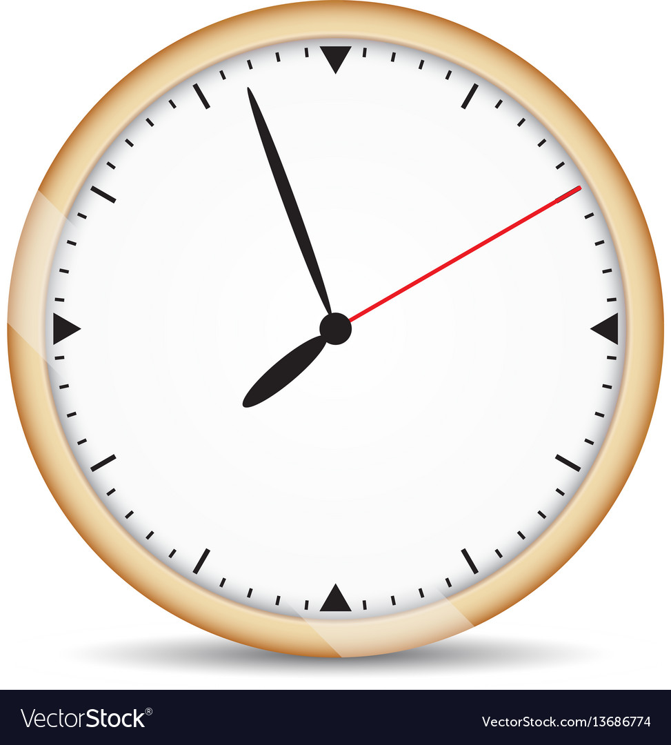 Round clock with brown frame and red second hand Vector Image