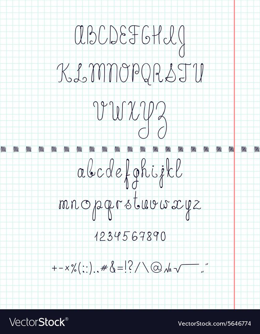 Set capital English handwriting font on paper Font