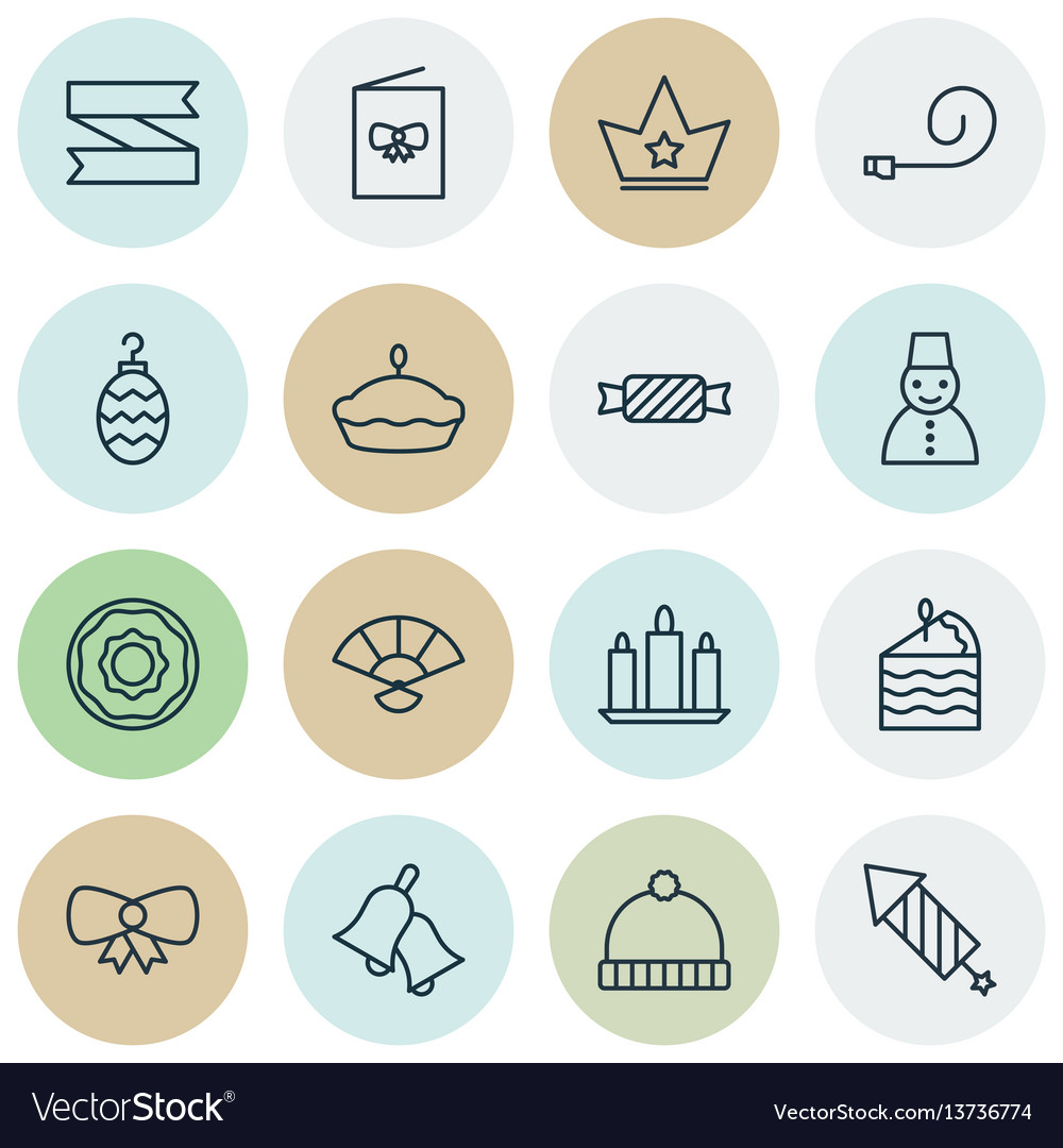 Set of 16 celebration icons includes ringer flan