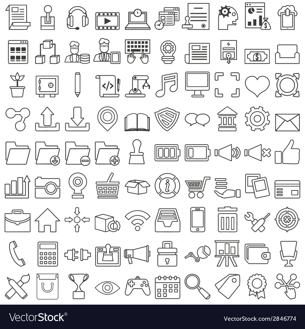 Set of business outline icons for design