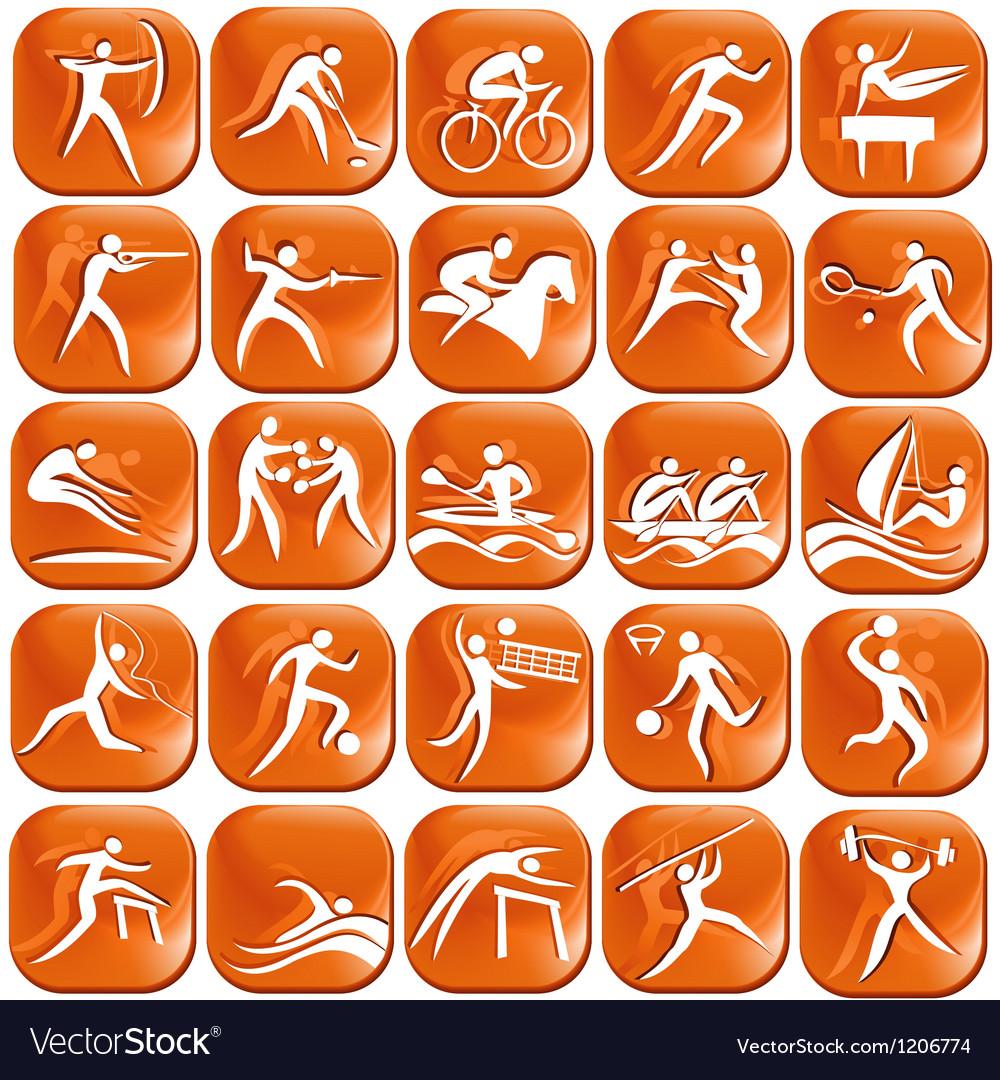 Set os orange sport icons