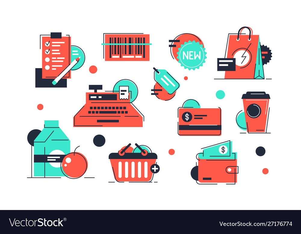 Set shopping icons products and market