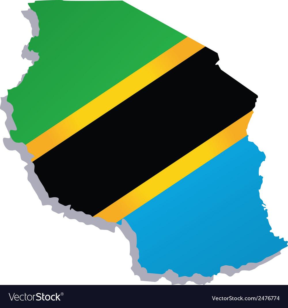 Tanzania Africa Map Flag Royalty Free Vector Image