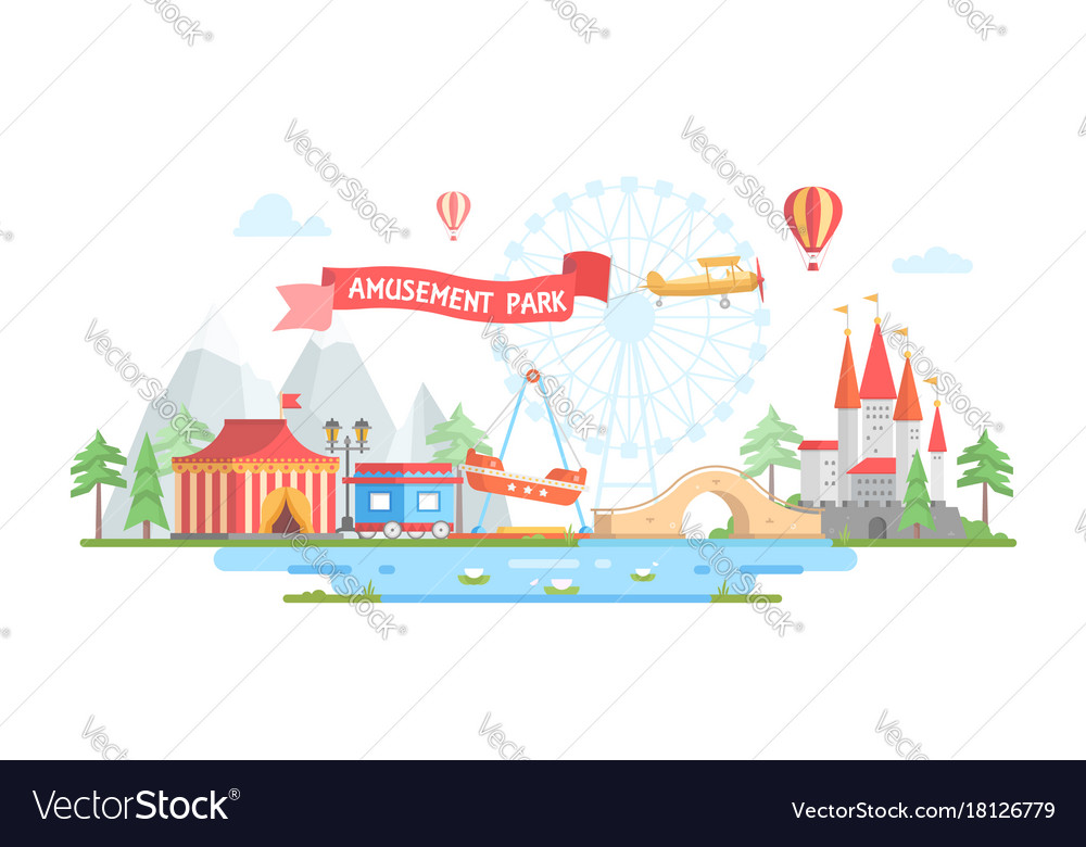 City with amusement park - modern flat design vector image