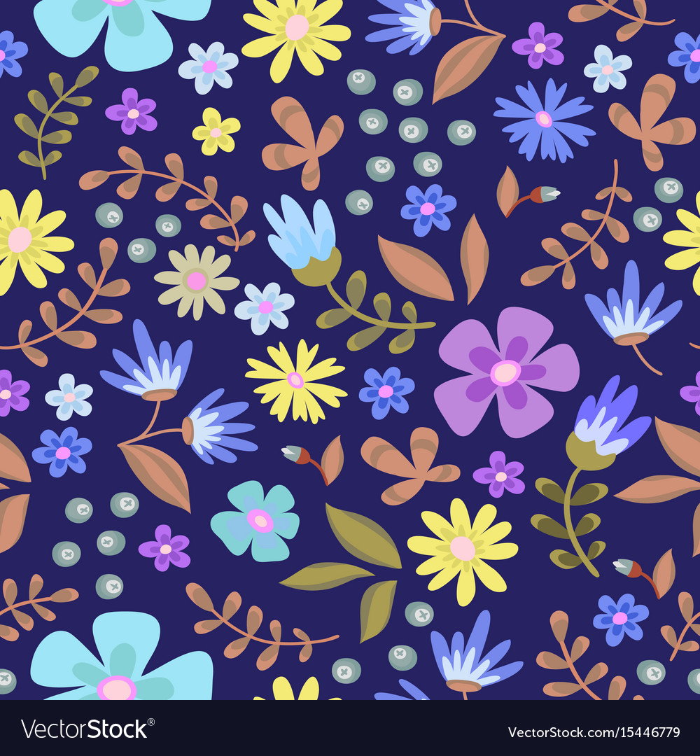 Floral seamless pattern cute retro flowers wreath