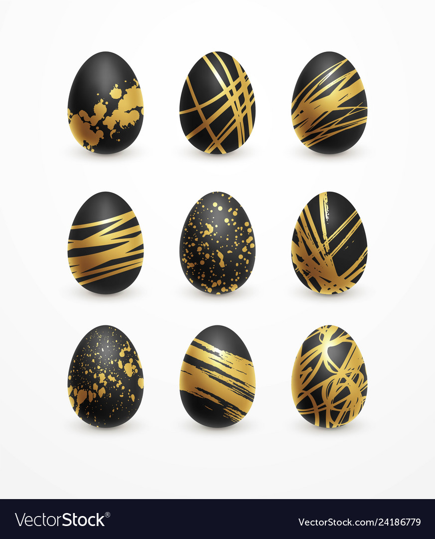 Happy easter realistic black and golden shine