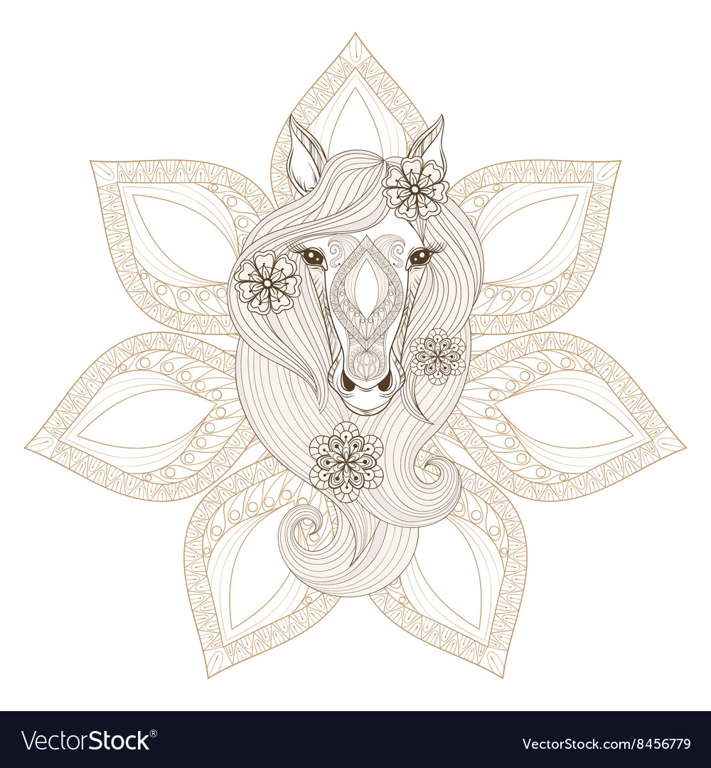 Horse Coloring page with Horse face on