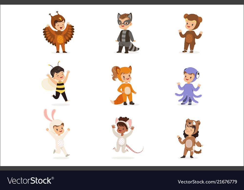 Kinds in animal costume disguise happy and ready