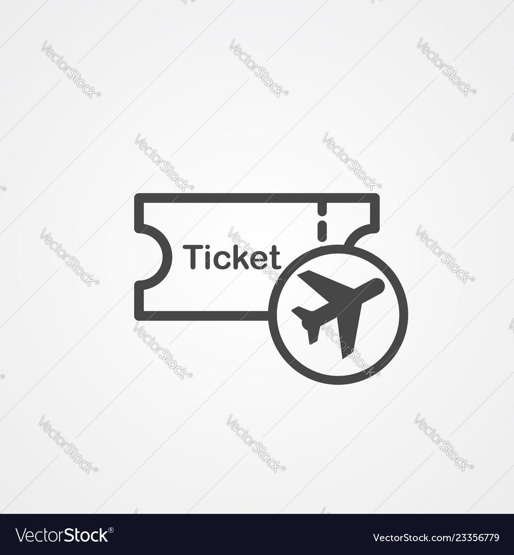 Plane ticket icon sign symbol