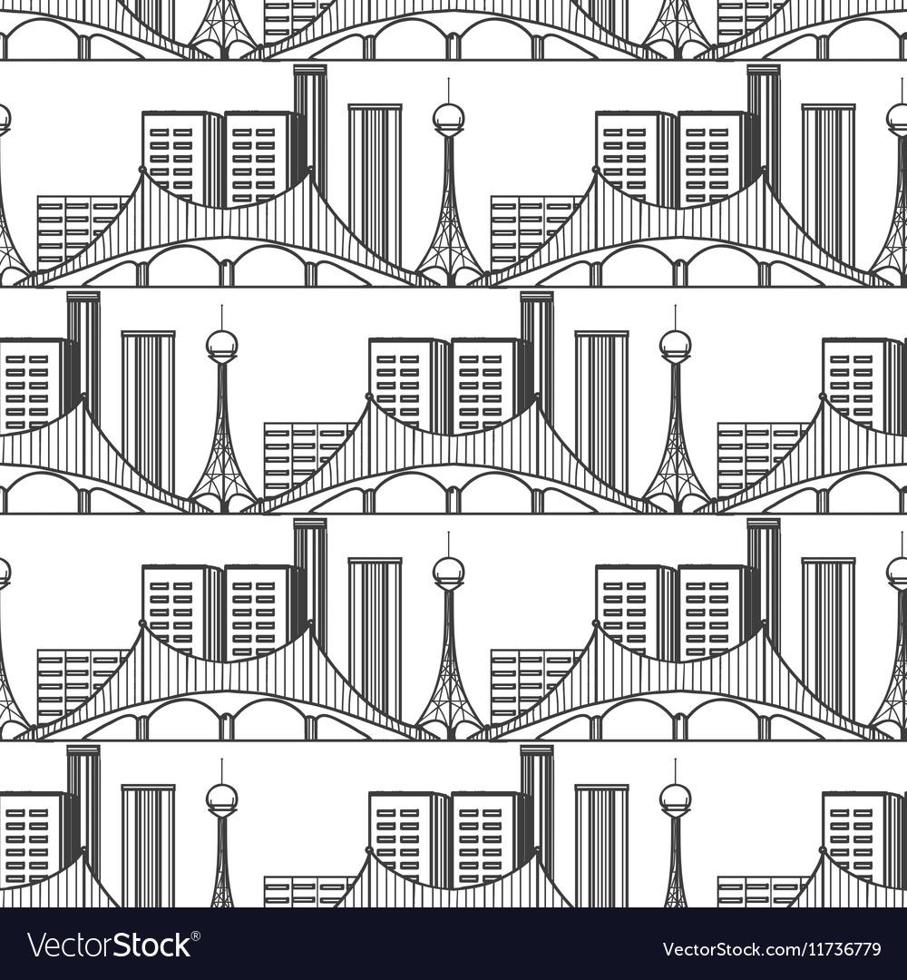 Urban city seamless pattern vector image