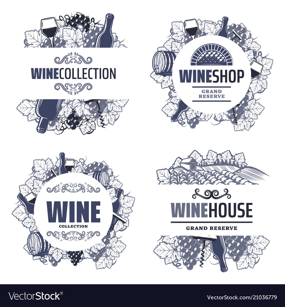 Vintage traditional wine templates vector image