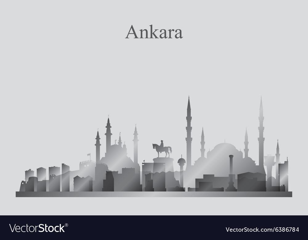 Ankara city skyline silhouette in grayscale vector image