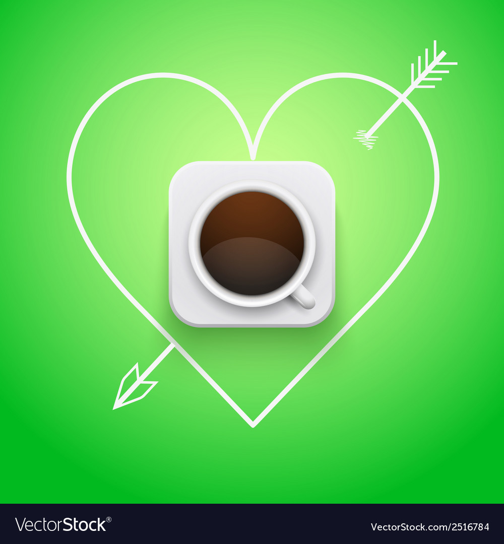 Background cup of coffee and heart with arrow