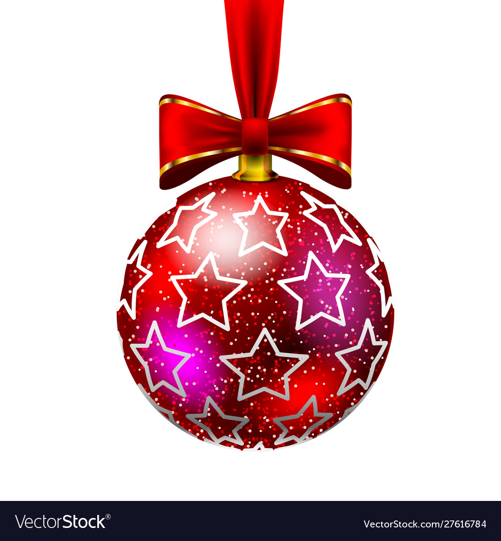 Beautiful christmas red ball with bow and drawn