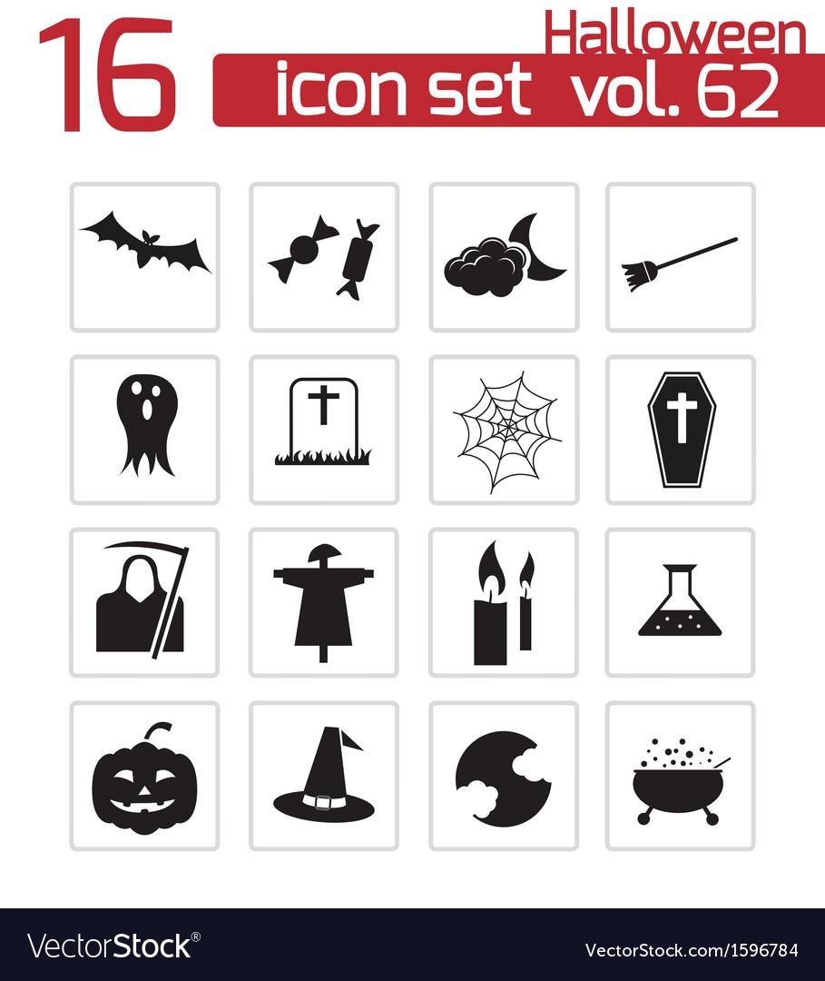 Black halloween icons set