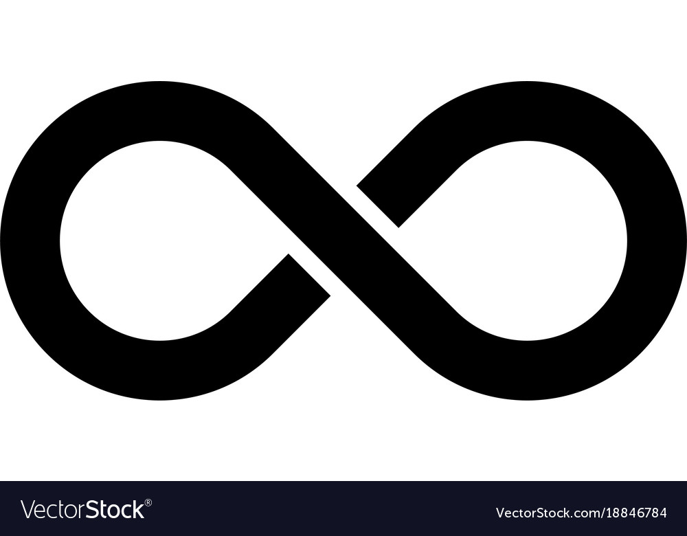 Black Infinity Symbol Icon Simple Flat Royalty Free Vector