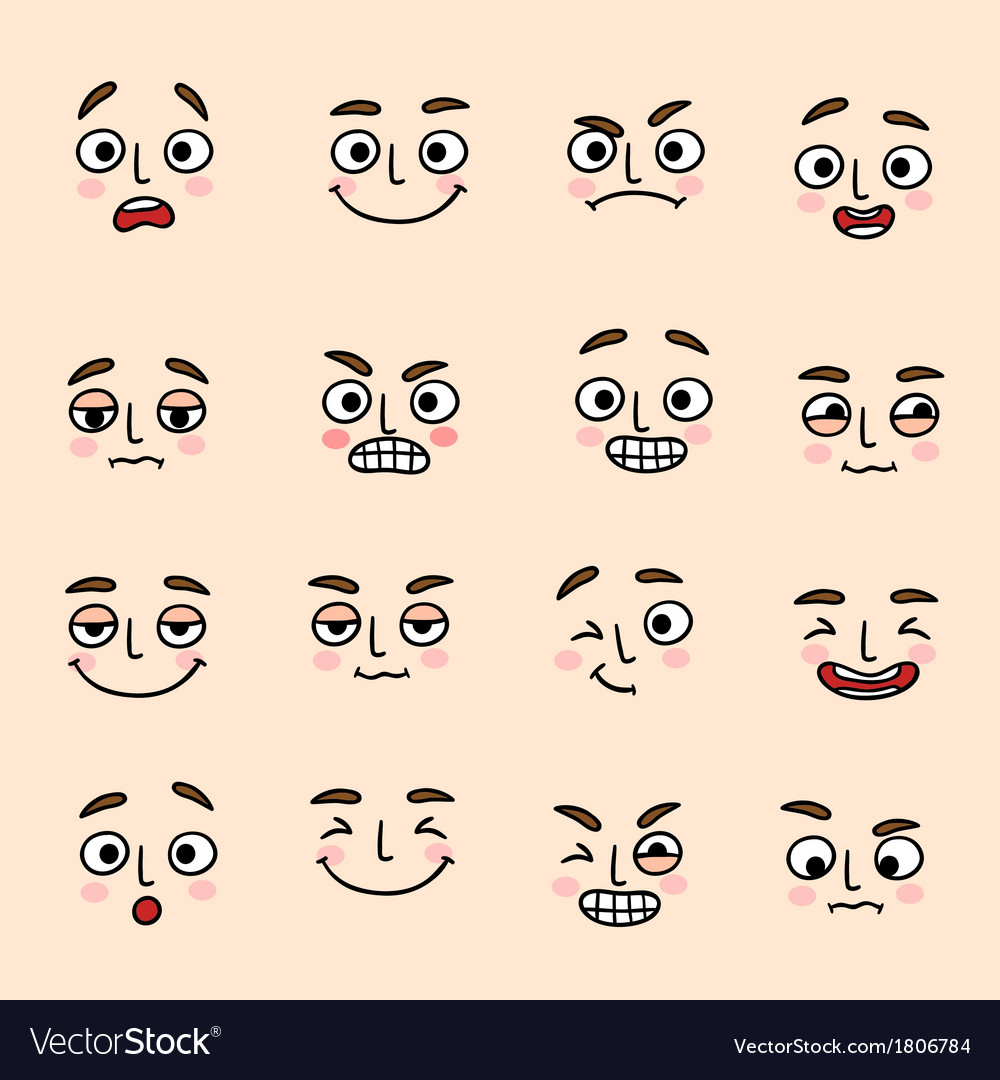 Facial mood expression icons set