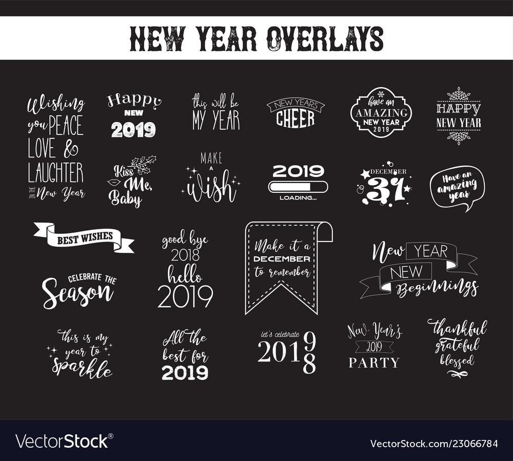 Happy new year 2019 typographic emblems set