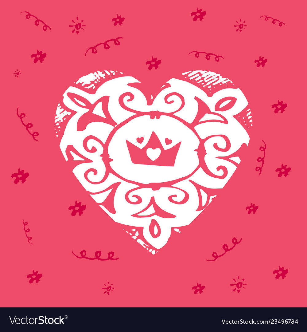 Happy valentines day - greeting card with crown