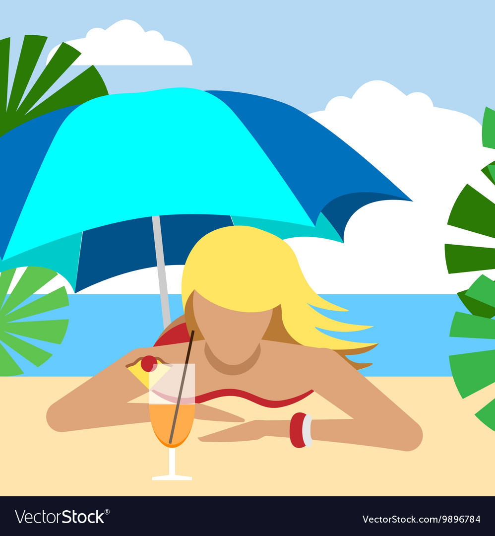 Hot girl on a beach under umbrella with cocktail
