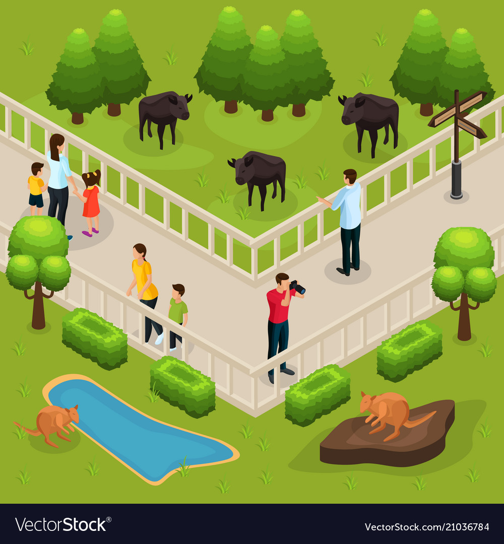 isometric zoo template royalty free vector image