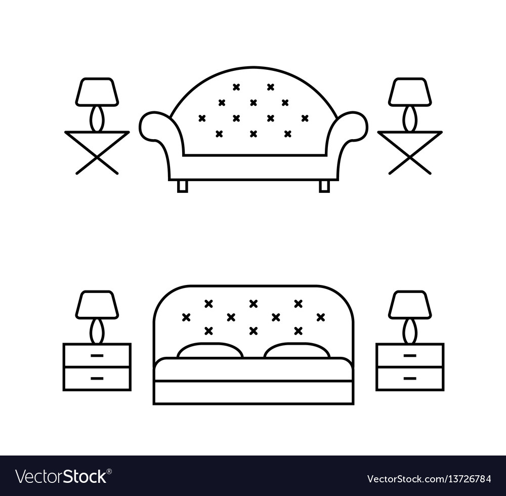 Living room and bedroom line art layouts vector image