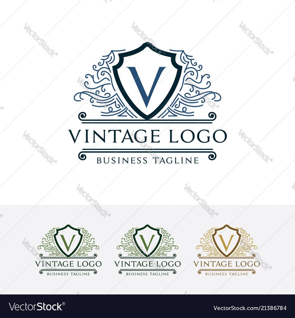 Logo of vintage shield with letter v