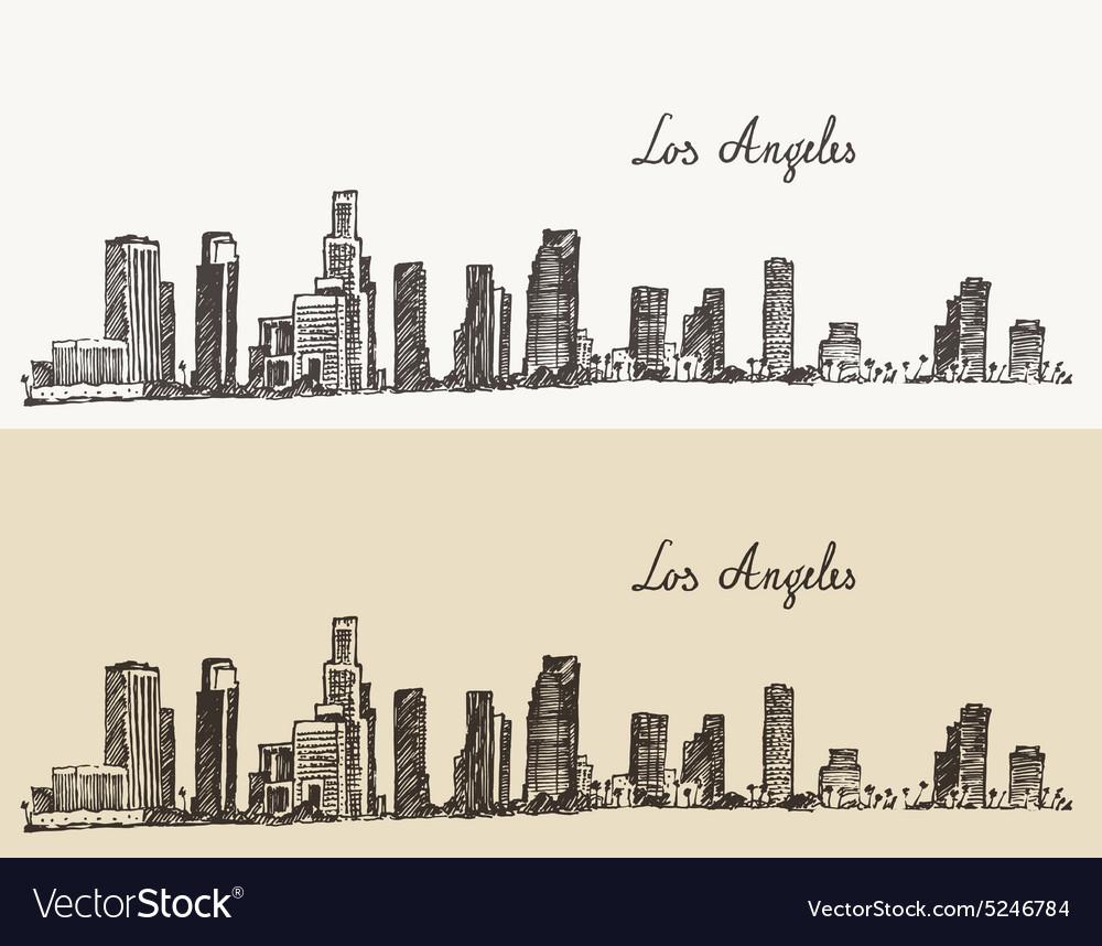 Los Angeles skyline California vintage engraved