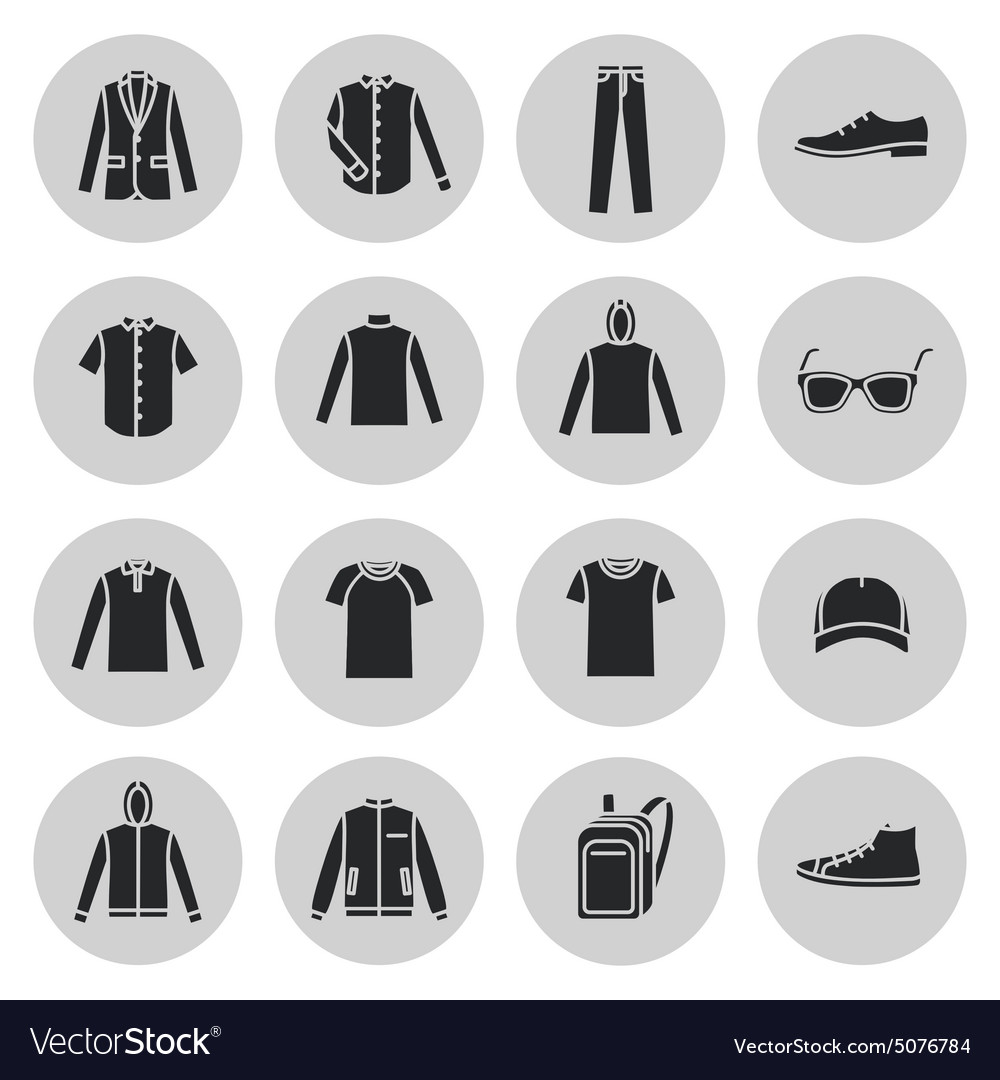 Mens Clothing icons and accessories