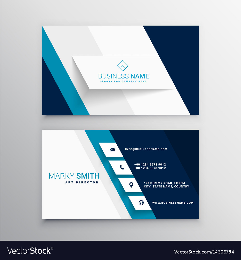 Modern Blue And White Business Card Template Vector Image