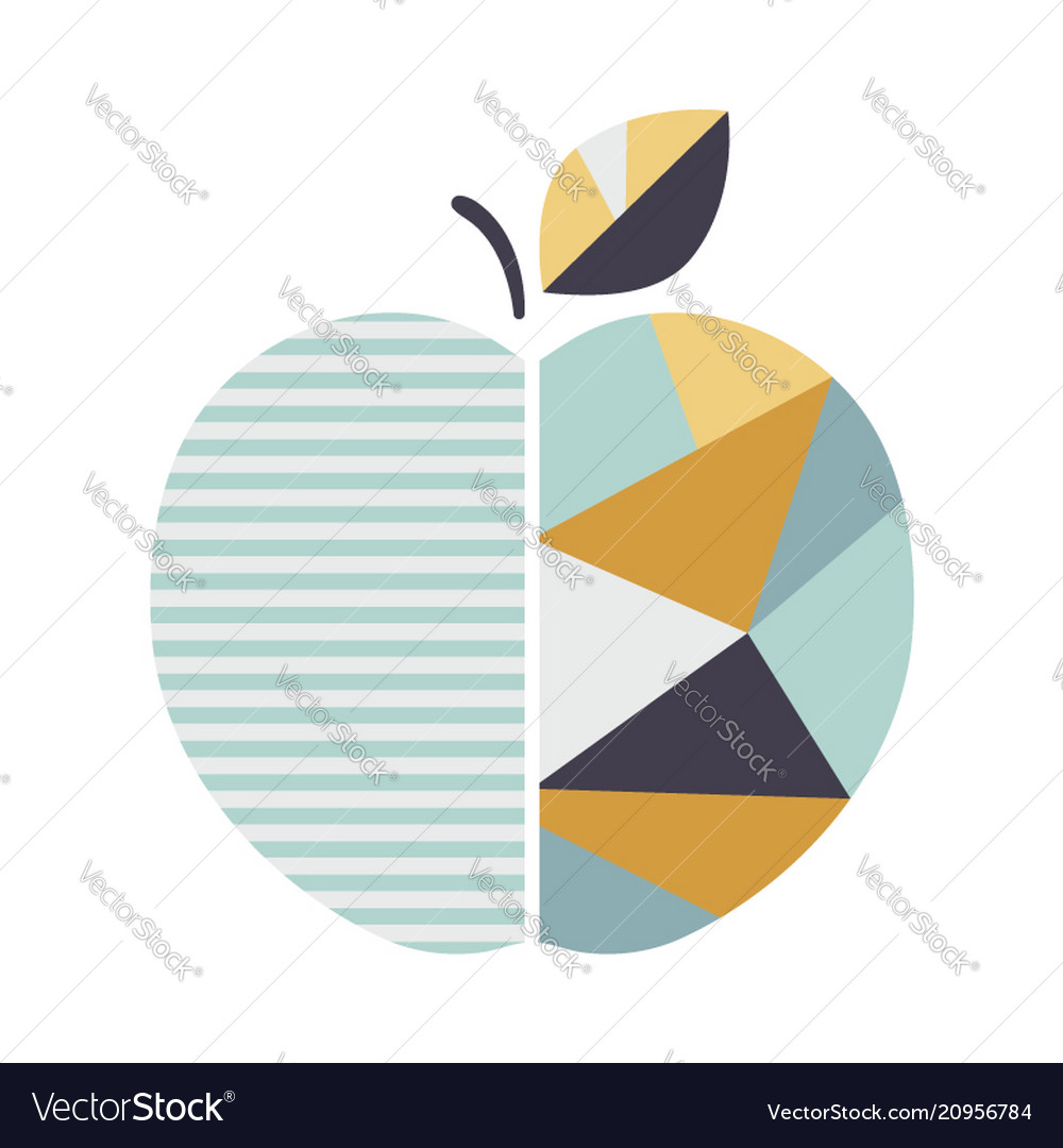 Modern geometric apple modern fruit poster good
