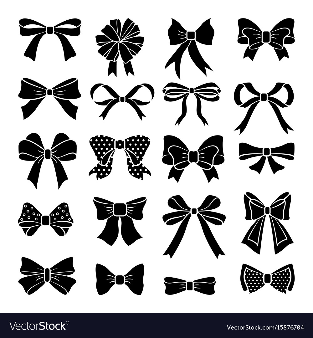 Monochrome bows and ribbons set holiday