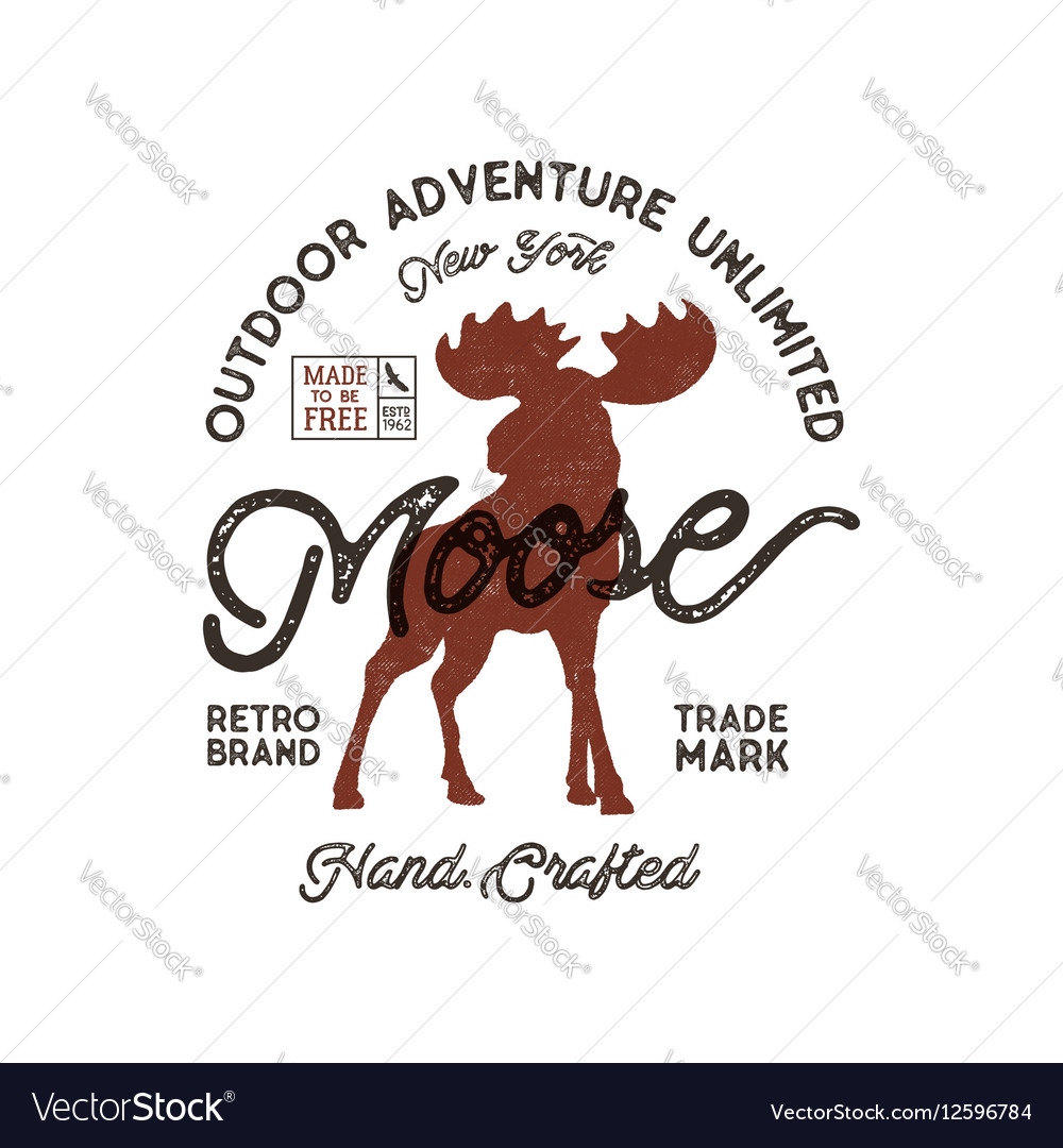 Outdoor adventure label Vintage typography with