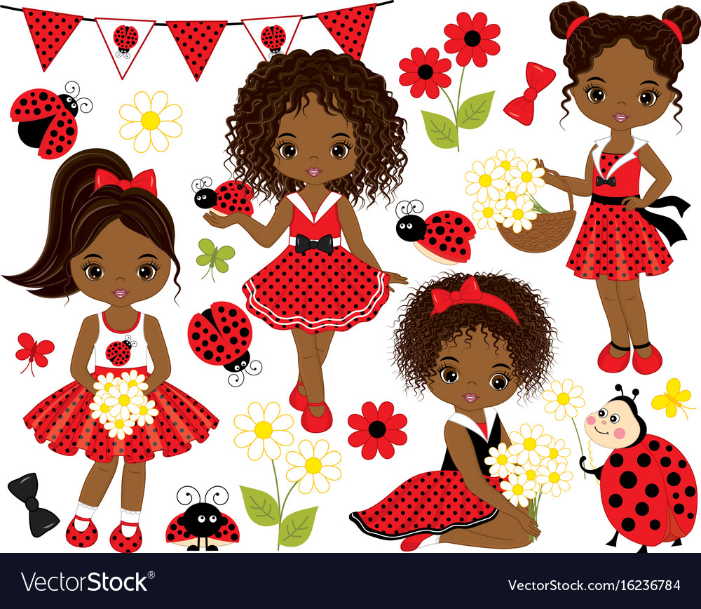Set african american girls and ladybugs