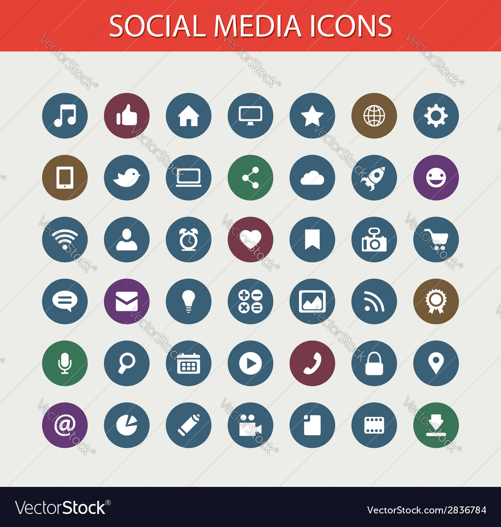 Set Of Modern Flat Design Social Media Icons Vector Image