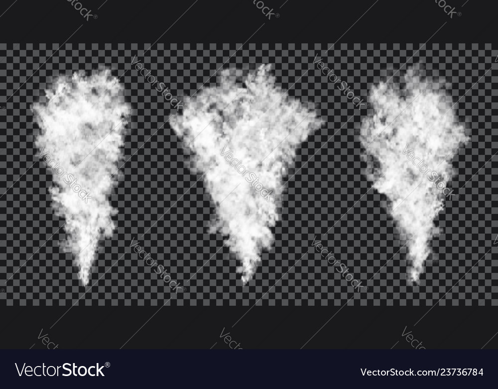 Smoke stream on transparent background realistic