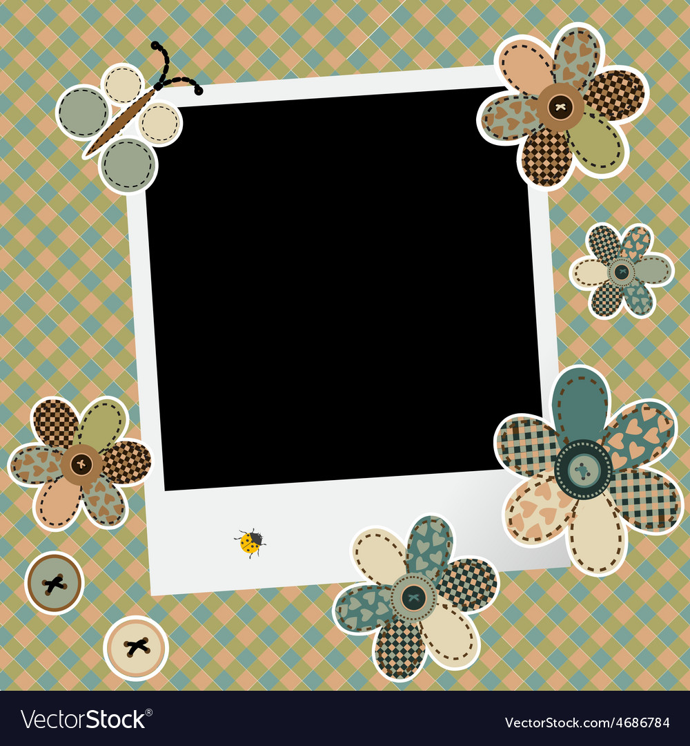 Vintage Design Background For Scrapbook With Photo