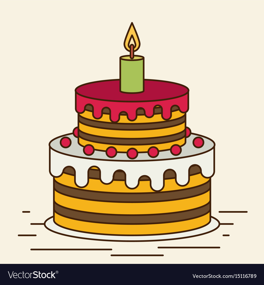 Birthday Cake Sweet Cupcakes Cartoon Flat Design Vector Image