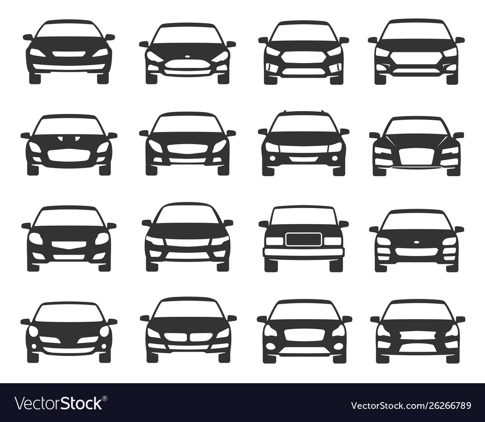 Car front view black icon set transportation