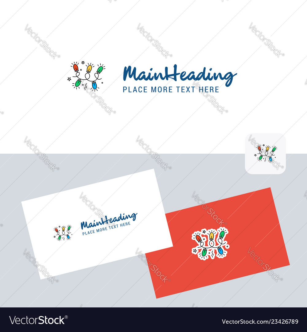 Decoration lights logotype with business card