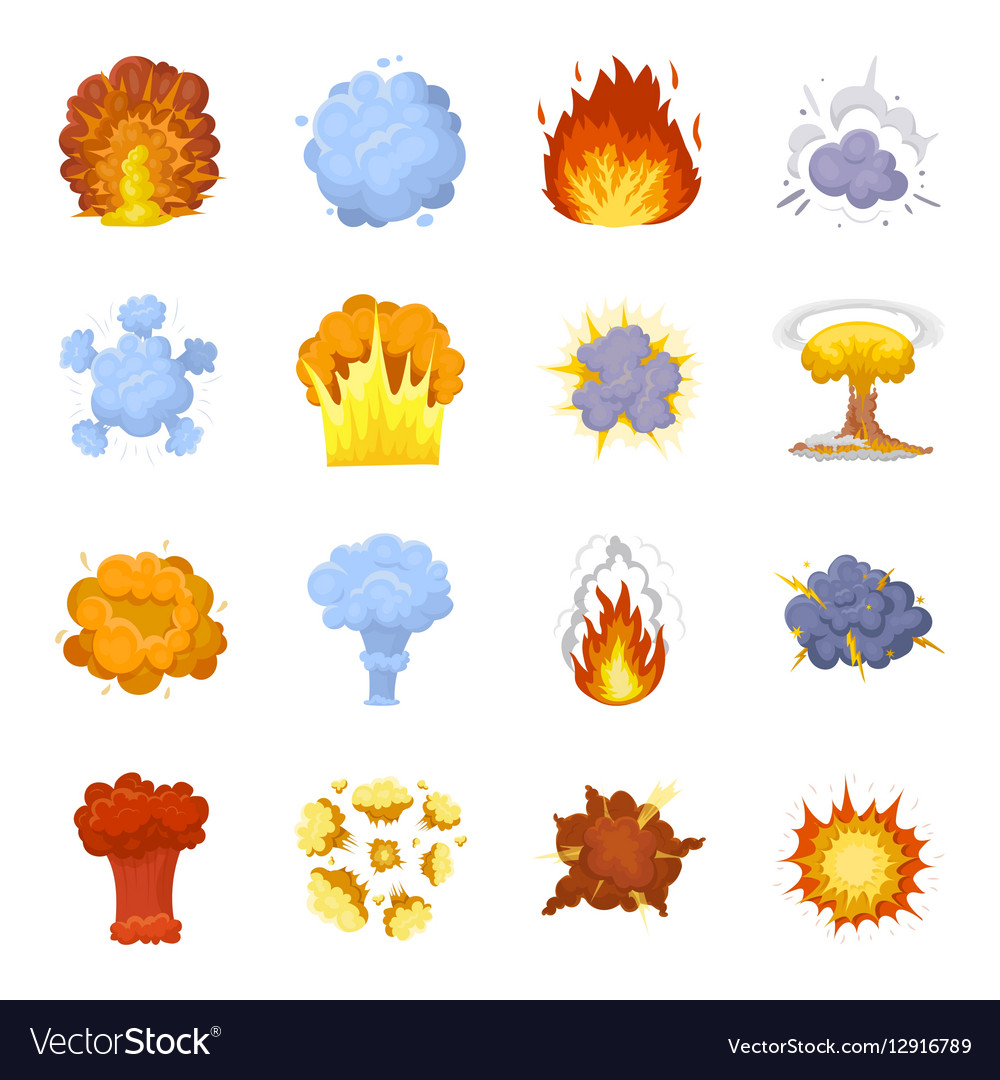 Explosions set icons in cartoon style Big