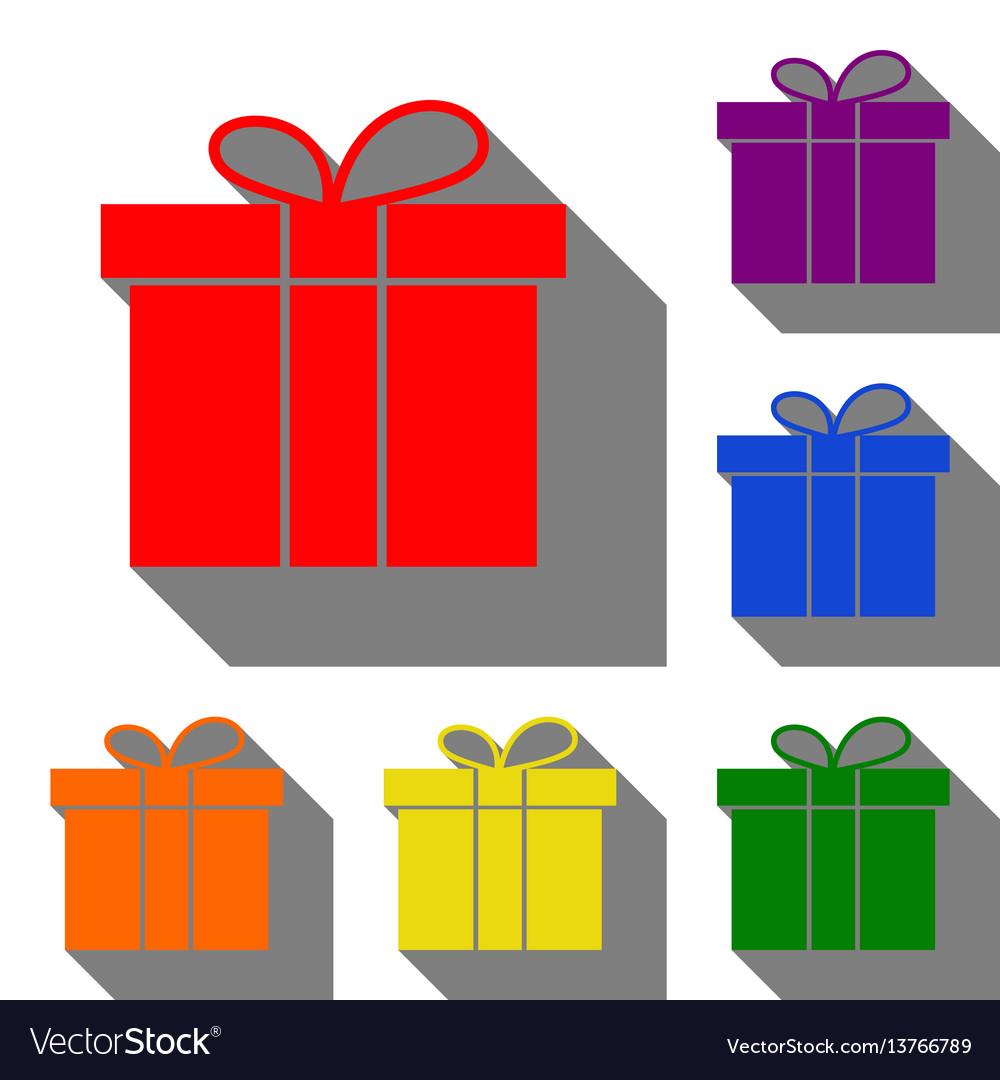 Gift box sign set of red orange yellow green