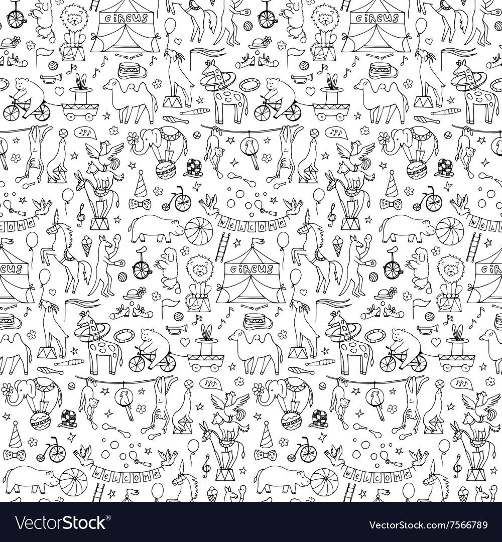 Hand drawn circus seamless pattern