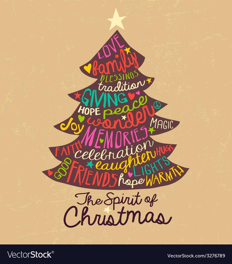 Handwritten Christmas Card Word Cloud tree design