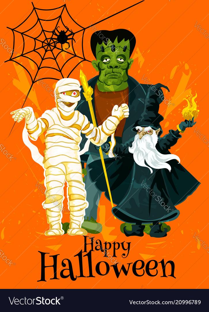Happy halloween trick treat greeting card