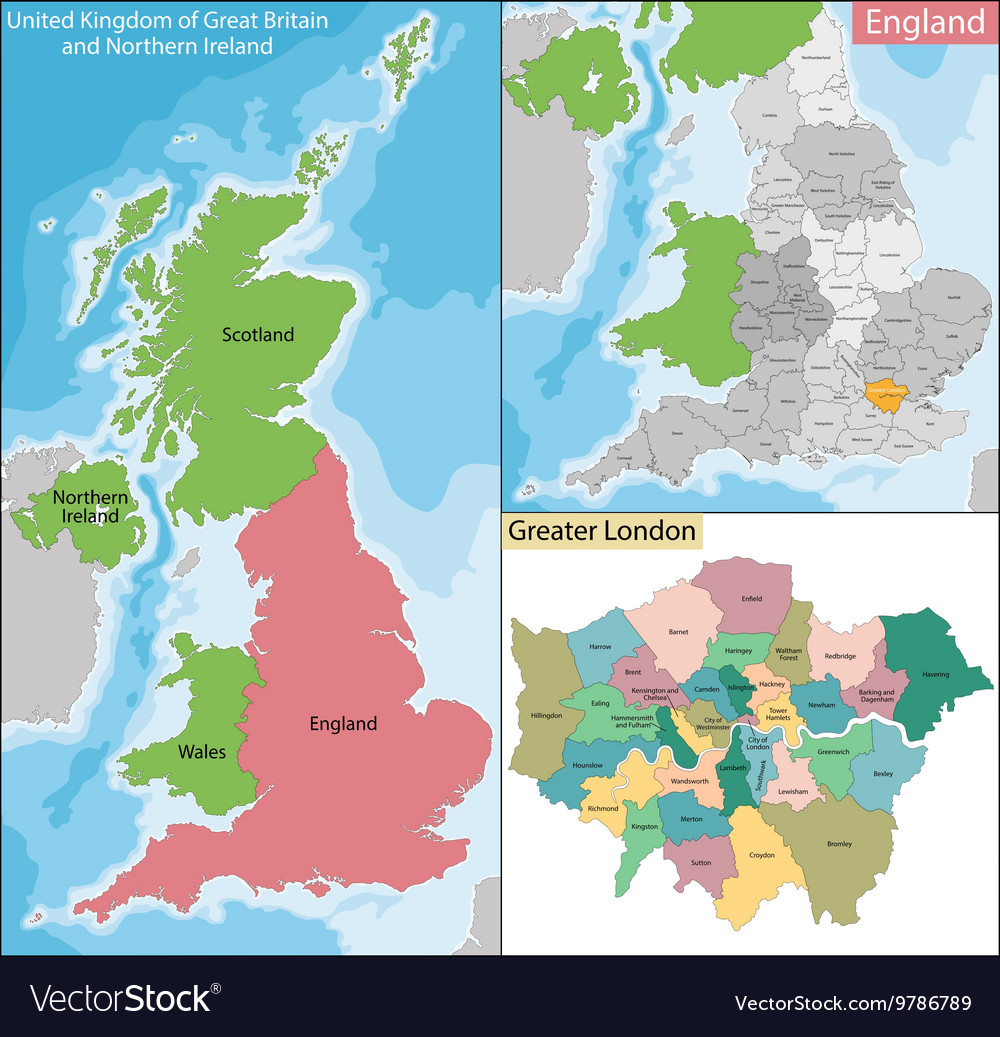 Map Of Greater London Royalty Free Vector Image