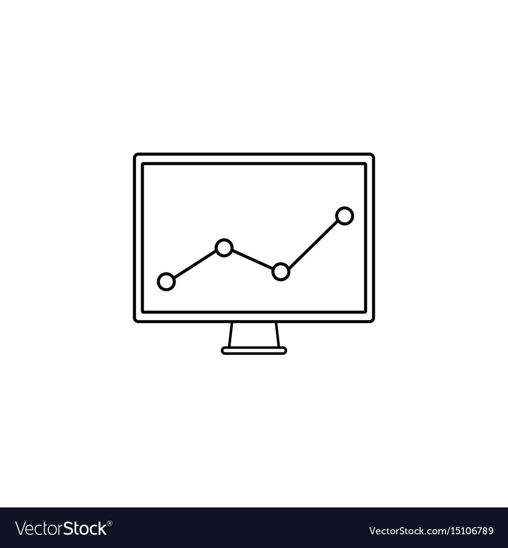 Market monitoring line icon computer analysis