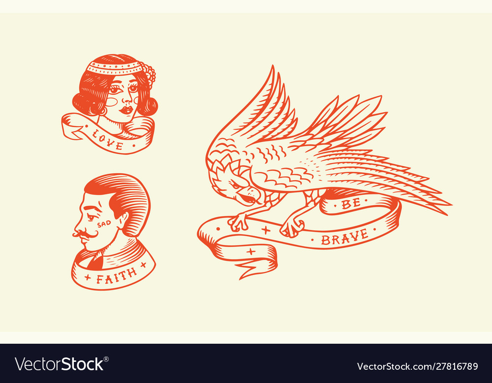 Old school tattoo hipster man and woman and eagle