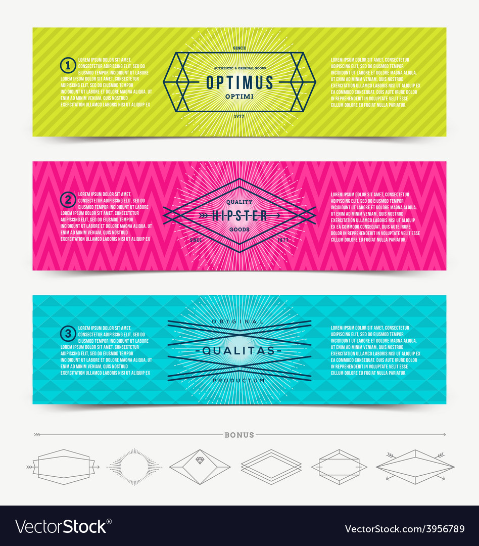 Set of abstract banner template design with line